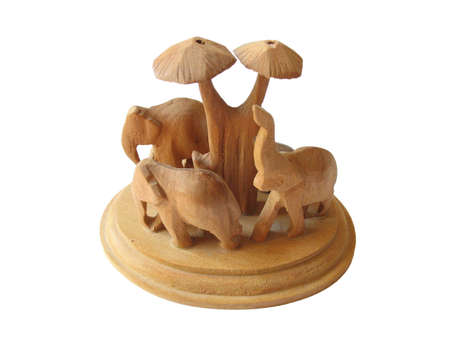 Indian elephants sandal-wood manual worked figurine Stock Photo - 2920742