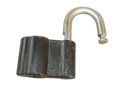 Old opened padlock isolated on white background photo