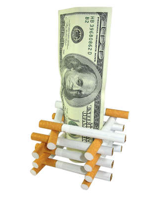 Healthcare and Health insurance cost concept. Cigarettes with money. photo