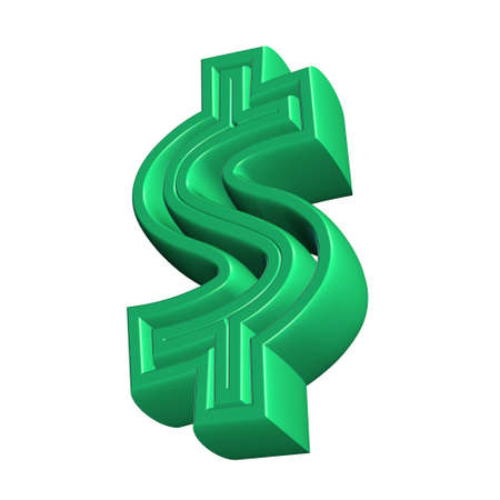 purchasing power: dollar symbol rendered from 3d on white background