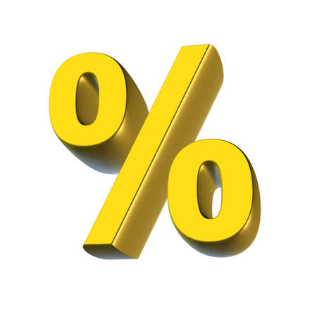 installment: Percent character rendered from 3D on white background Stock Photo