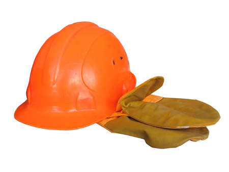 An image of orange helmet with mittens isolated on white photo