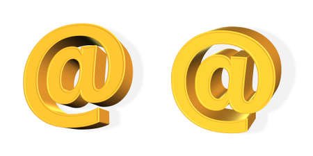 A golden email symbol from different points of view isolated on white (3D rendering) photo