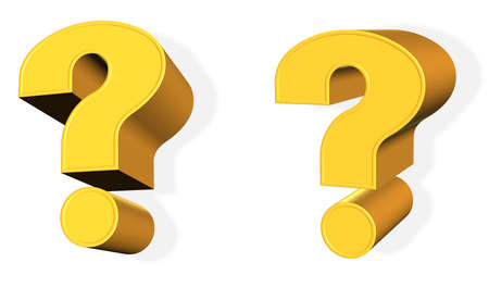 Golden 3d Question Mark from different points of view Stock Photo - 3125873