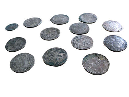 numismatist: Old medieval coins isolated over white background