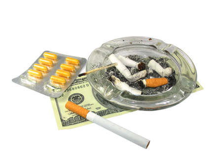 habitual: cigarette, , ash-trash, and drugs isolated on white