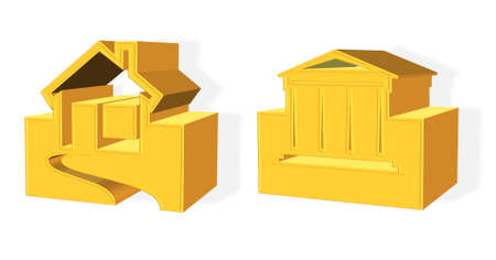 golden house real estate concept rendered from 3D isolated over white photo