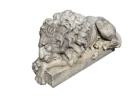 sleeping lion statue isolated over white background photo