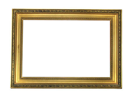 Old antique gold plated wooden picture frame over white background photo