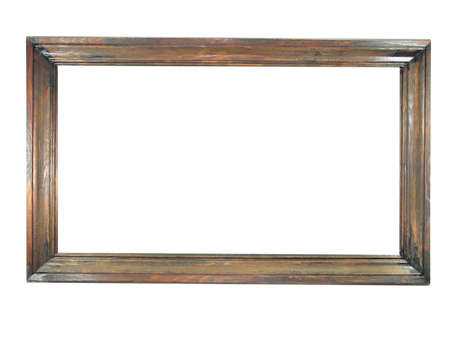 Old antique wooden picture frame with empty place for text or image over white background