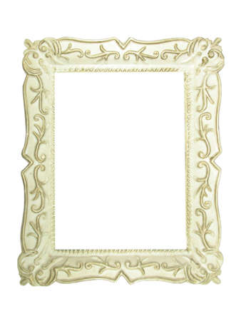 Old antique wooden picture frame with empty place for text or image over white background Stock Photo - 3272298