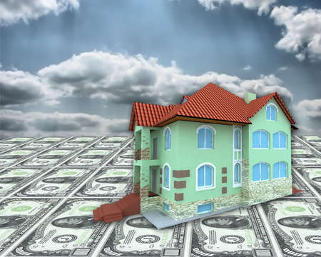 A 3D concept house on money and cloudy sky background photo