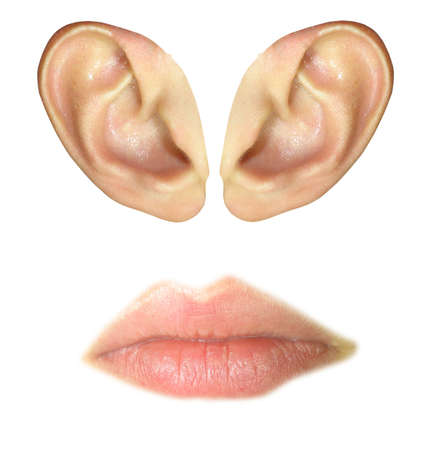 Human ears and lips isolated over white background