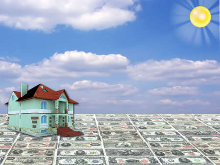 A 3D concept house on rare money currency and blue sky background photo