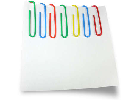 White reminder paper with multicolor clips isolated over white background Stock Photo - 3382637
