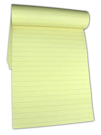 Yellow lined notebook with empty pages isolated over white background Stock Photo - 3412185