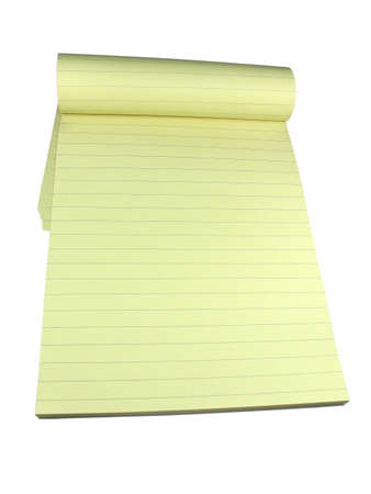 Yellow lined notebook with empty pages isolated over white background Stock Photo - 3412189