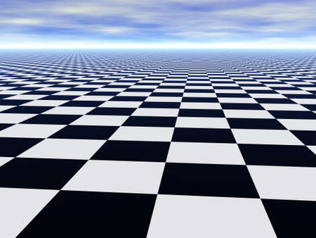 abstract chess black and white Infinite floor and cloudy blue sky Stock Photo - 3412188