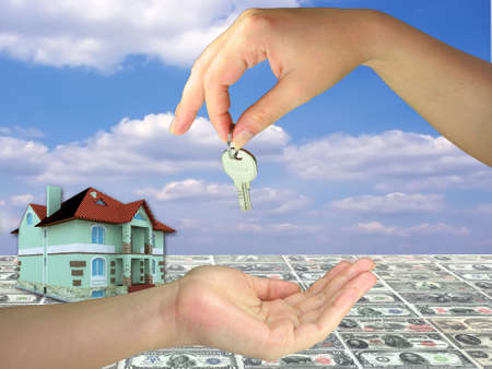 Lady hands giving and geting key on 3d house concept, money and blue sky background photo