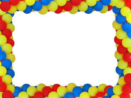 Colored baloon frame with empty plase for birthday portret isolated over white Stock Photo