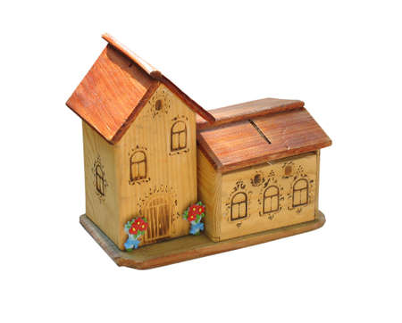 small wooden toy house isolated over white background Stock Photo - 3498211