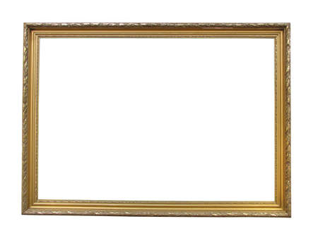 Old antique gold plated wooden picture frame over white background