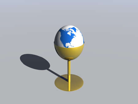3D concept - Earth globe in a support for egg over gray background Stock Photo - 3595191