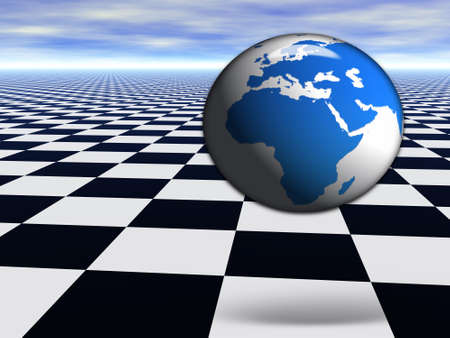 3D world globe jumping on abstract chess black and white Infinite floor with cloudy blue sky photo