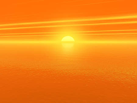 bloody red sunset over ocean water 3d high quality rendered Stock Photo - 3665902