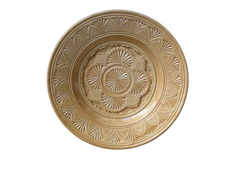 vintage wooden plate with pattern isolated over white background Stock Photo - 3729450