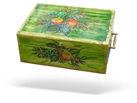 wooden lid: Antique green decorated wood box isolated over white background Stock Photo