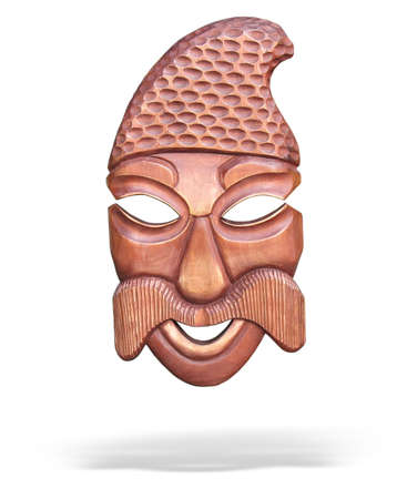 wooden mask with shadow isolated over white background Stock Photo - 3729476