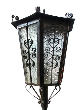 Old city Street lantern lamp isolated over white background photo