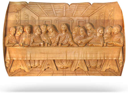 wooden Last supper religion bas-relief isolated over white background