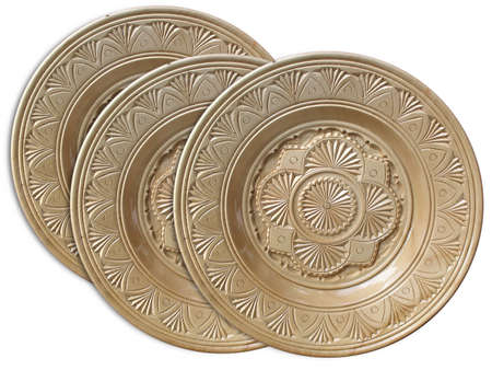 vintage wooden plates with pattern isolated over white background Stock Photo - 3793867