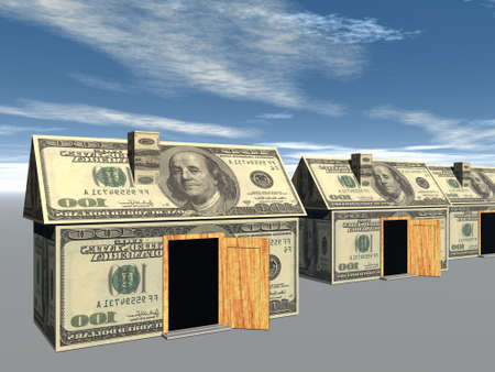3D rendered street of money made houses with reflection and blue sky Stock Photo - 3868628