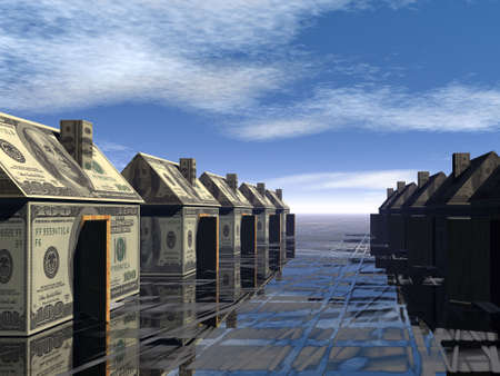 housing problems: 3D rendered street of money made houses with reflection and blue sky