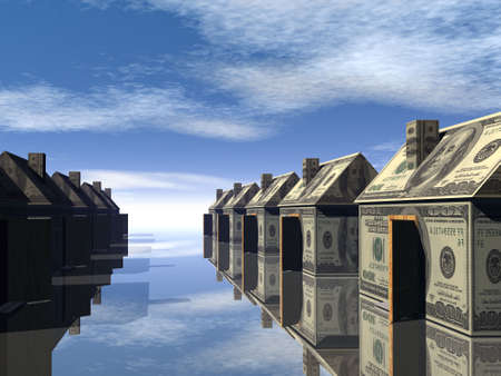 hundred dollar bill: 3D rendered street of money made houses with reflection and blue sky