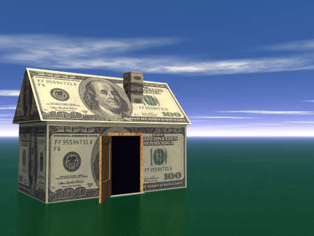 3D Render Real Estate house and money Concept Stock Photo - 3868624