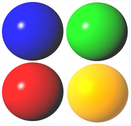 ble: colored abstract green ble red yellow spheres high quality rendered from 3d
