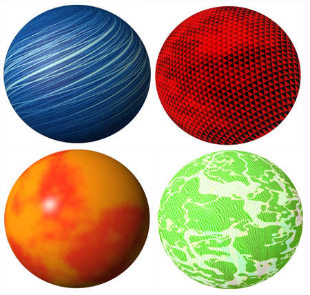 colored abstract globe spheres high quality rendered from 3d photo