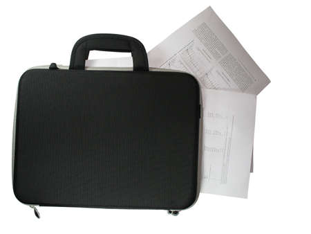 it is isolated: black briefcase with business paper documents in it isolated over white background