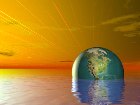 3d Concept Earth Globe in ocean water and red Sunset sky photo