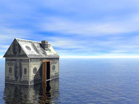 investment real state: Real Estate concepto d�lar casa el agua y el cielo azul nublado 3D Prestados