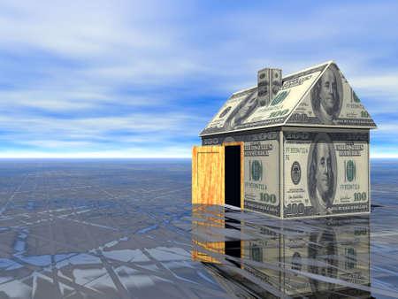 investment real state: Real Estate concepto dólar casa asfalto húmedo y nublado cielo azul 3D Prestados