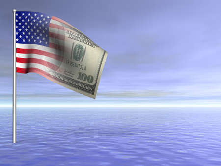 patriot: concept American flag us dollar over blue ocean water 3D rendered