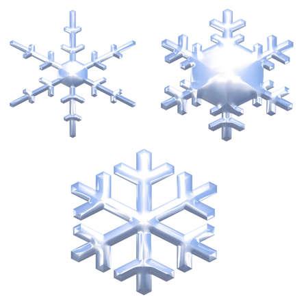 set of chrome metal effect snow flakes over white photo
