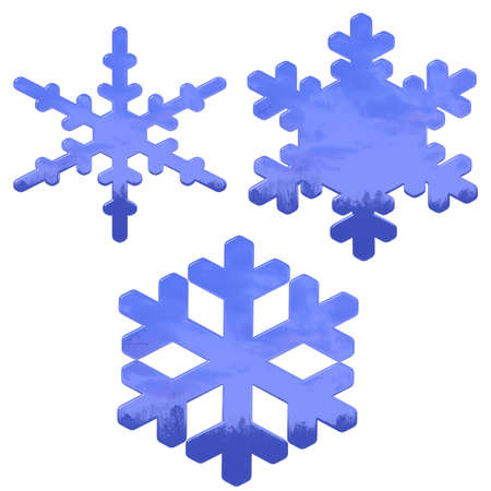 set of blue, glass effect snow flakes over white photo