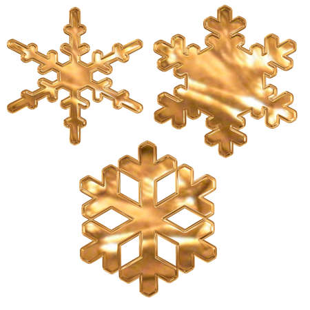 set of gold metal effect snow flakes over white photo