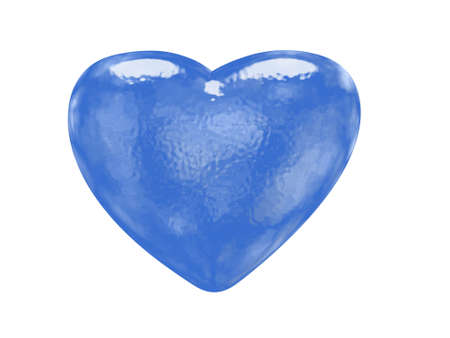 Blue glass effect patterned heart - classic love symbol photo